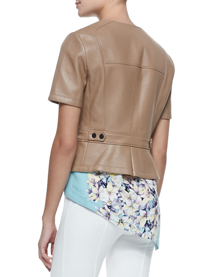 Dayne Fitted Short-Sleeve Faux-Leather Jacket