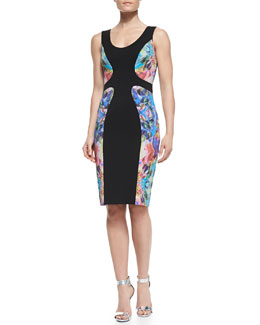 Black Halo Annabella Gem-Stone-Print Sheath Dress