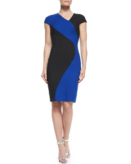 Black Halo Colby Colorblocked Sheath Dress