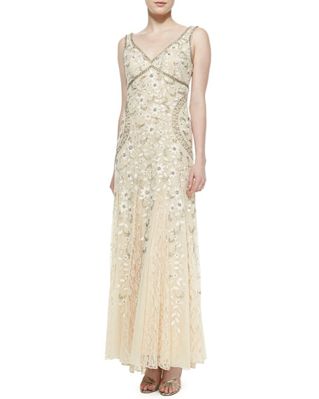 Sue WongSleeveless Beaded Lace Bottom Gown