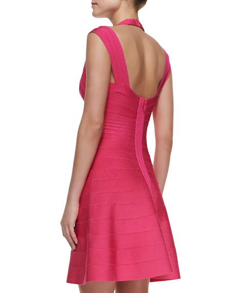 Double-Strap Fit-and-Flare Bandage Dress