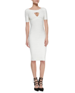 Herve Leger Keyhole-Front Half-Sleeve Bandage Dress