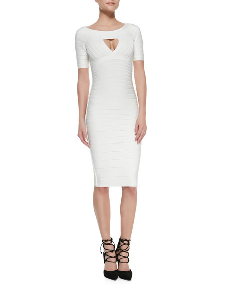 Keyhole-Front Half-Sleeve Bandage Dress