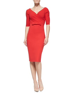 La Petite Robe di Chiara Boni Giordana Half-Sleeve Dress with Center Bow Detail