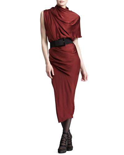 Donna Karan Draped Satin Midi Dress