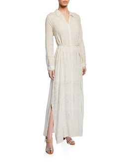 Johnny Was Collection Georgette Button-Front Long Dress