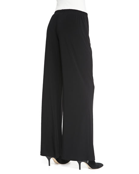 Stretch Knit Wide-Leg Pants, Black