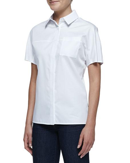 Jason Wu Short-Sleeve Button-Front Cotton Shirt