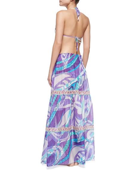 Smock-Waist Printed Coverup Skirt