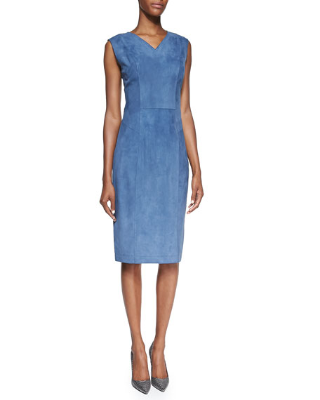 Suede V-Neck Sheath Dress, Blue