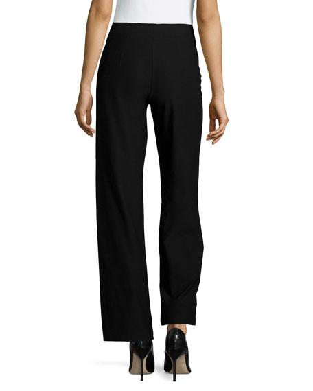 Washable Crepe Modern Wide-Leg Pants, Black, Women's