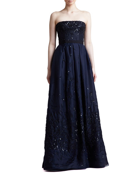 J. Mendel Sequined Strapless Organza Ball Gown, Navy
