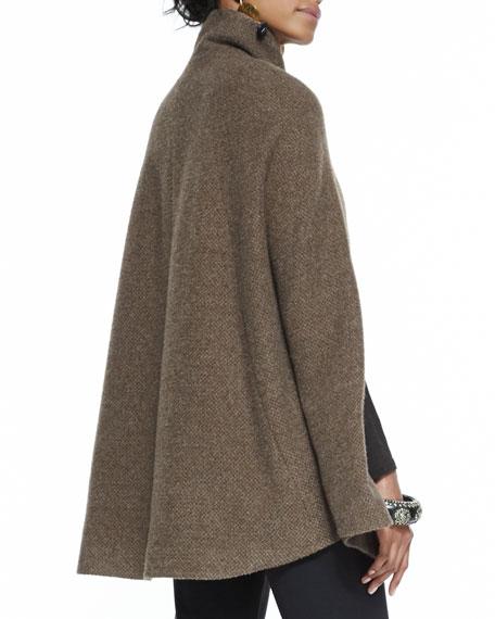 High-Collar Alpaca Tweed Cape