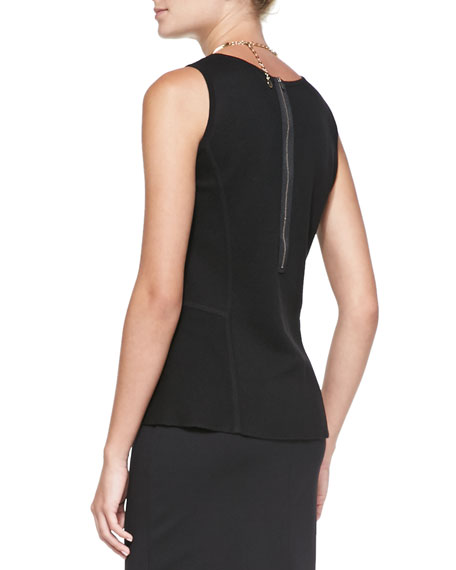 Sleeveless Peplum Tank, Black, Petite