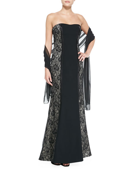 Strapless Lace-Panel Gown