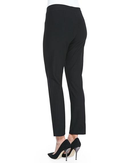 Washable Crepe Slim Ankle Pants, Plus Size