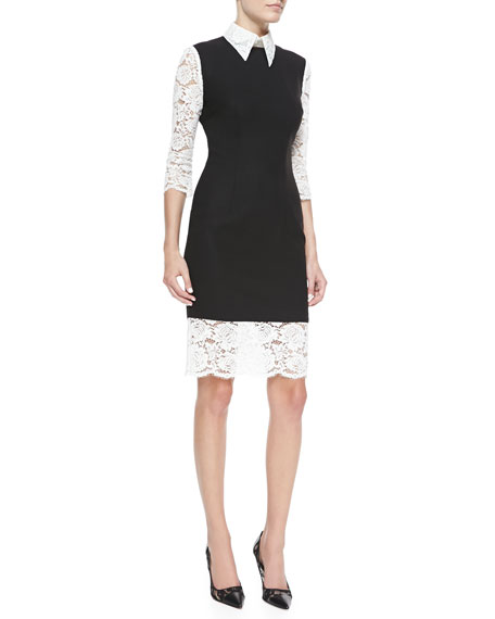 Halley Lace & Crepe 3/4-Sleeve Shirtdress