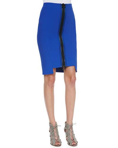 Thea Zip-Front Pencil Skirt