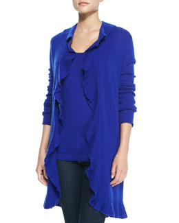 Neiman Marcus Cashmere Ruffled Long-Sleeve Duster