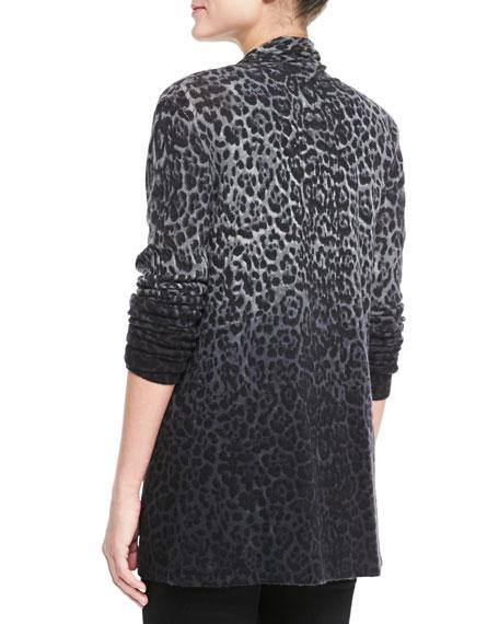 Dip-Dye Leopard Cashmere Cardigan