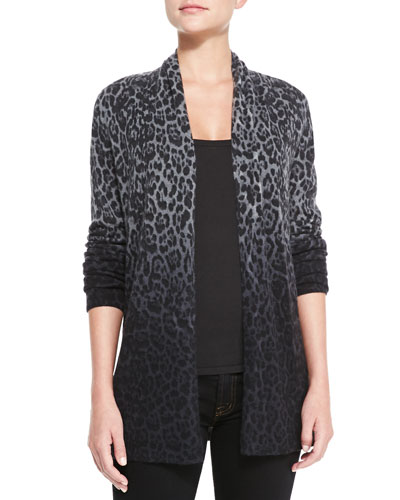 Sofia Cashmere Dip-Dye Leopard Cashmere Cardigan