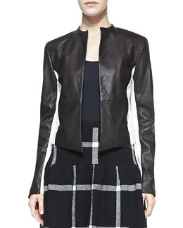 Alice + Olivia Leather-Detail 2-Tone Open-Front Jacket