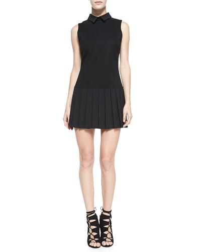 Alice + Olivia Drop-Waist Pleated-Skirt Dress