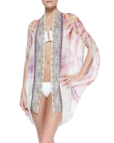 Silk Printed Open-Front Cardigan/Cape Coverup
