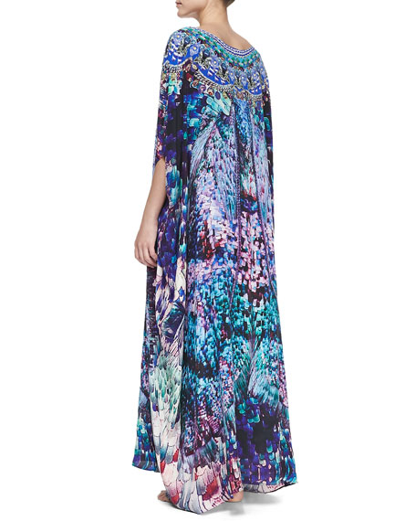 Silk Printed Round-Neck Caftan Coverup