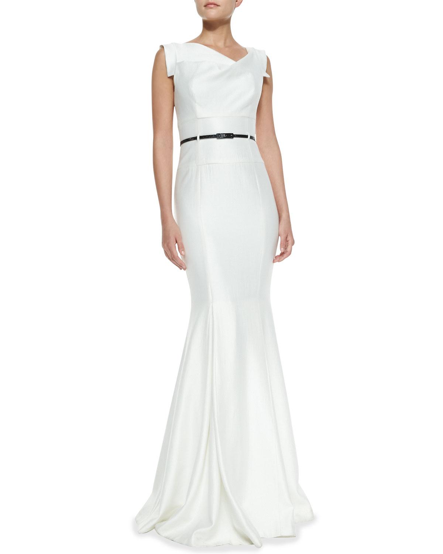 Black Halo Eve Asymmetric-Neck Mermaid Gown | Neiman Marcus