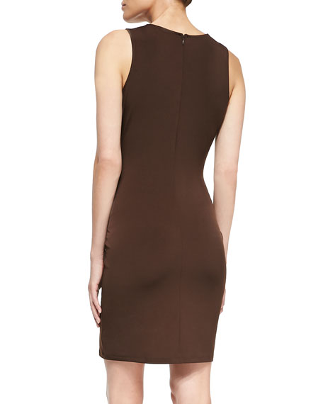 Logo-Plate Jersey Faux-Wrap Dress