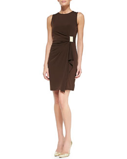 MICHAEL Michael Kors  Logo-Plate Jersey Faux-Wrap Dress