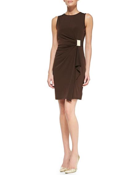 Logo-Plate Jersey Faux-Wrap Dress