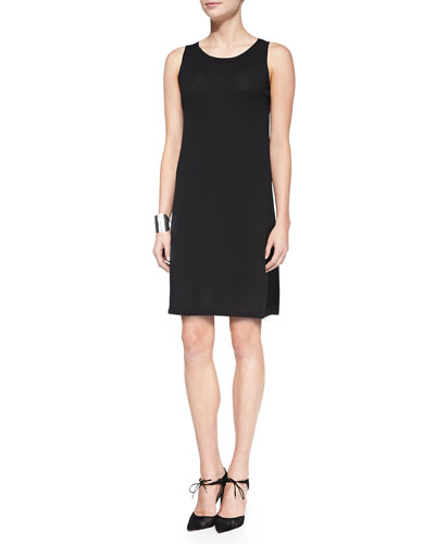 Eileen Fisher Washable Crepe Layering Dress, Petite
