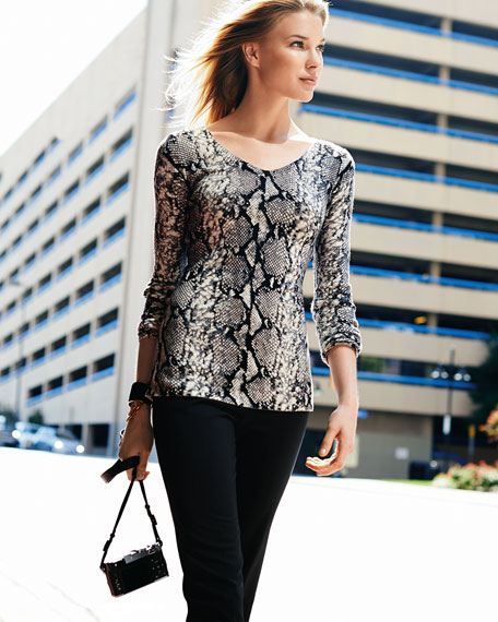 Long-Sleeve Python-Print Cashmere Top