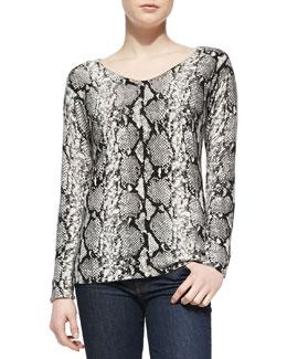 Sofia Cashmere Long-Sleeve Python-Print Cashmere Top