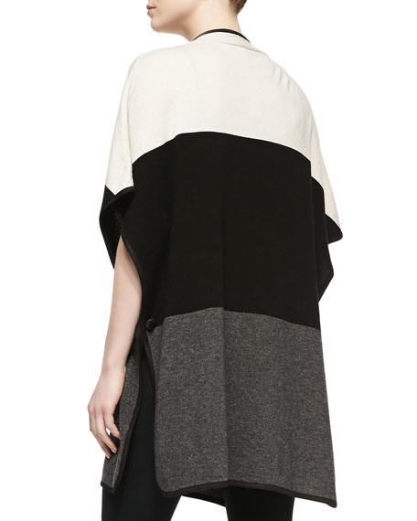 Cashmere Colorblock Open Cardigan