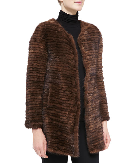 Belle Fare Layered Mink Fur Coat, Mahogany