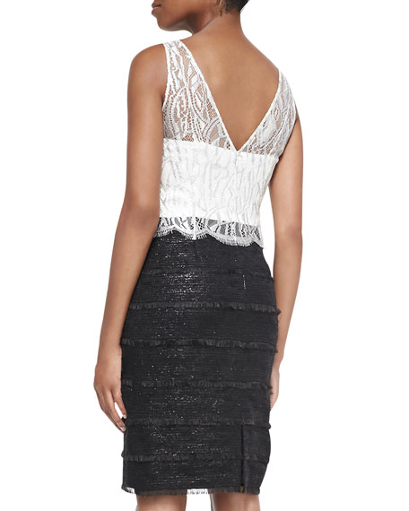 Sleeveless Lace-Bodice Sheath Dress