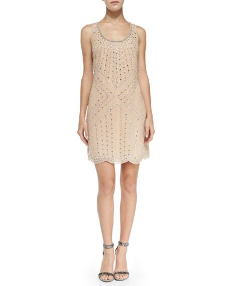 Phoebe Beaded Pattern Shift Cocktail Dress