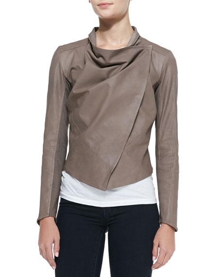 Asymmetric Cowl-Neck Leather Jacket, Camel