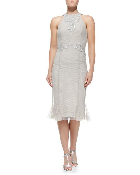 Rachel Gilbert Sleeveless Embroidered Lace Cocktail Dress