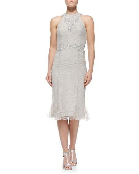 Rachel Gilbert Sleeveless Embroidered Lace Cocktail Dress