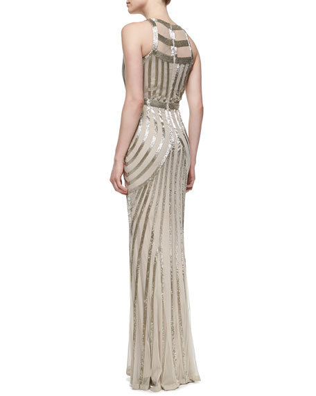 Beaded-Pattern Tulle Halter Gown