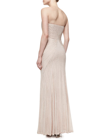 Strapless Beaded-Pattern Gown