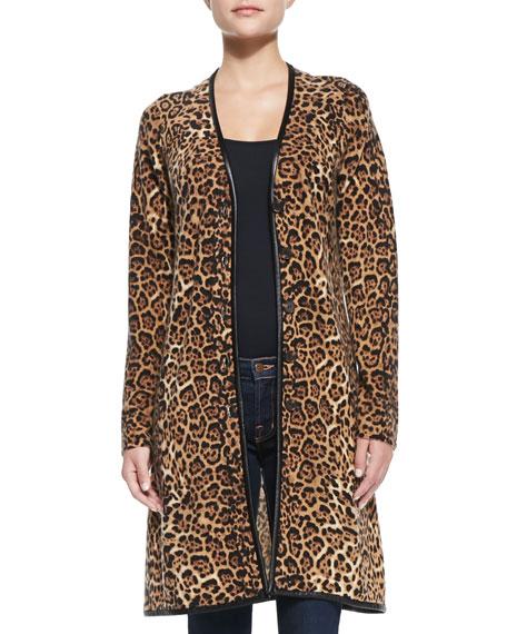 Sofia Cashmere Long Leopard-Print Cashmere Cardigan