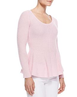 Neiman Marcus Peplum Cashmere Sweater