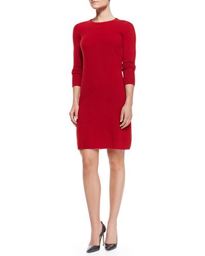 Neiman Marcus Crewneck Cashmere Sweaterdress