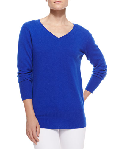 Neiman Marcus Oversized V-Neck Sweater