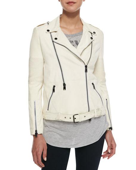 Suede Long-Sleeve Moto Jacket
